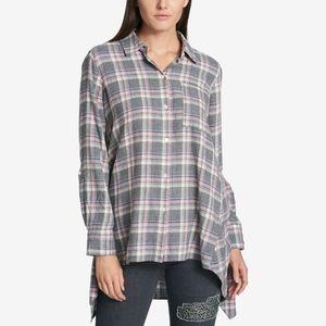 DKNY Cotton Plaid High Low Tunic Button Down Shirt